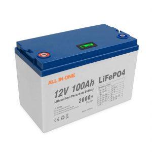 VŠE V JEDNOM Žhavá prodejní energie Solární lithiové baterie Software pro ukládání BMS Control Dobíjecí hluboký cyklus 12V 100Ah LiFePO4 baterie