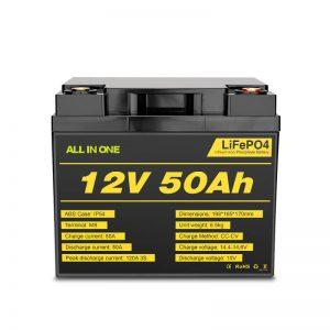 Dobíjecí akumulátorová baterie Lifepo4 s hloubkovým cyklem 12V 50 Ah pro elektrický systém